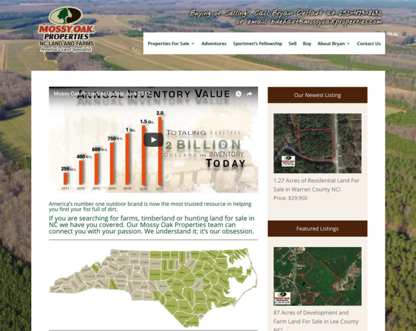 MOP Agent Website for Bryan DeHart at MOP NC Land and Farms